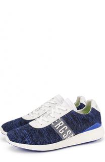 Текстильные кроссовки на шнуровке с отделкой из натуральной кожи Dirk Bikkembergs