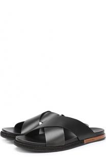 Кожаные шлепанцы с широкими ремешками Ermenegildo Zegna