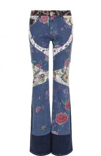 Расклешенные джинсы с цветочной отделкой Roberto Cavalli