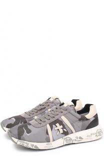 Комбинированные кроссовки на шнуровке с камуфляжным принтом Premiata