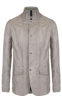 Кожаная куртка на пуговицах с эффектом крэш Isaac Sellam