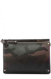 Кожаная борсетка с камуфляжным принтом Valentino