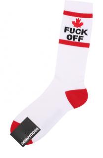 Хлопковые носки с контрастной отделкой Dsquared2