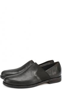 Кожаные ботинки с круглым мысом и текстильной вставкой O.X.S.