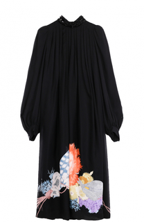 Шелковое платье свободного кроя с цветочным принтом Dries Van Noten