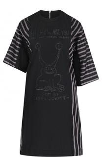 Мини-платье свободного кроя с круглым вырезом Sacai