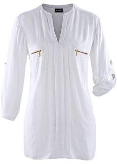 Блузка с воротником-стойкой (белый) Bonprix