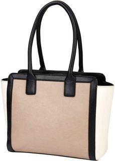 Трехцветная сумка (черный/белый/телесный) Bonprix