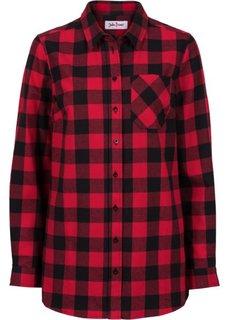 Длинная фланелевая рубашка (черный/красный) Bonprix