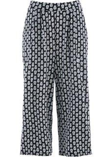 Трикотажные брюки-капри (черный/белый с рисунком) Bonprix
