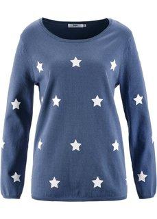 Пуловер (индиго с рисунком) Bonprix