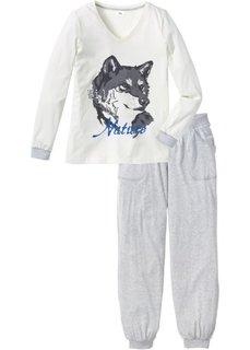 Пижама (цвет белой шерсти/светло-серый меланж) Bonprix