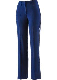 Стрейтчевые брюки с пайетками (ночная синь) Bonprix