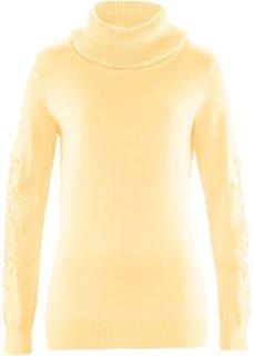 Пуловер с вязаным кружевом ПРЕМИУМ (нежно-желтый) Bonprix