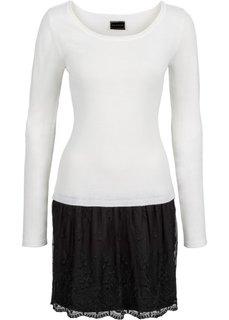 Вязаное платье с кружевной юбкой (цвет белой шерсти/черный) Bonprix