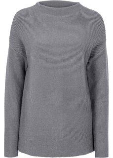Пуловер укороченного дизайна (серый) Bonprix