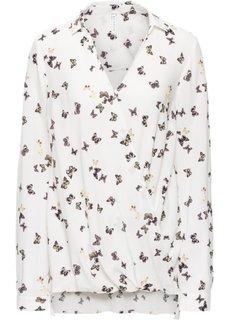 Блузка с эффектом запаха (белый с принтом бабочек) Bonprix