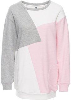Свитшот (белый/розовый/серый меланж) Bonprix