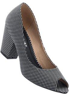 Туфли с открытым носком (черный/белый) Bonprix