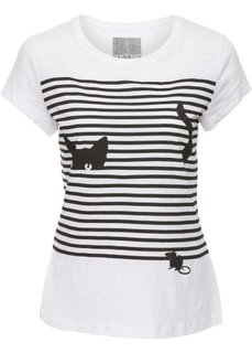 Футболка с изображением кошки (белый/черный с рисунком) Bonprix