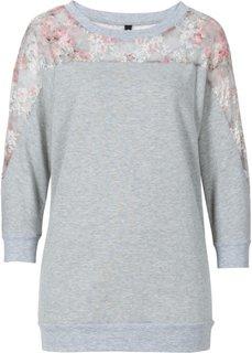 Свитшот с кружевной вставкой (серый меланж/розовый) Bonprix