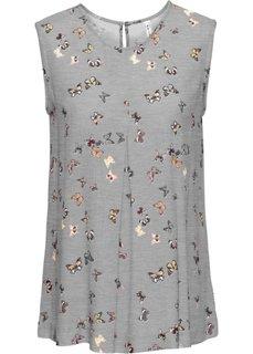 Блузка (светло-серый меланж с рисунком) Bonprix