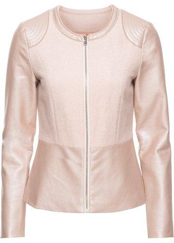 Байкерская куртка с баской (нежно-розовый)
