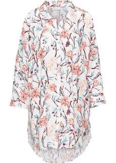Блузка с вырезами в стиле оверсайз (цвет белой шерсти в цветочек) Bonprix