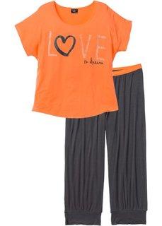 Пижама (2 изделия) (шиферно-серый/нектариновый с принтом) Bonprix