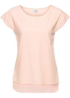 Короткая широкая футболка с кружевной отделкой (розовый) Bonprix