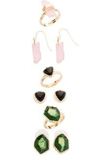 Комплект украшений: серьги + кольца с декоративными камнями (золотистый/различные расцветки) Bonprix