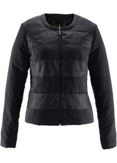 Стеганая куртка с пайетками (черный) Bonprix