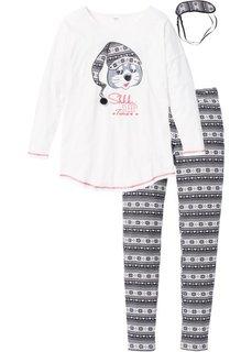 Пижама с маской для сна (черный/кремовый с принтом) Bonprix