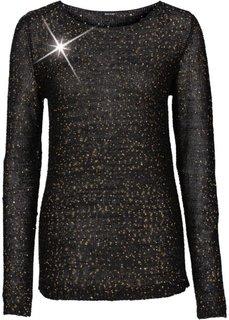 Пуловер с пайетками (черный/золотистый) Bonprix