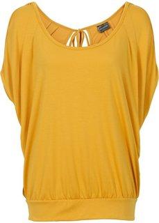 Широкая футболка с модными разрезами (медовый) Bonprix