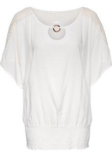Туника с кружевной отделкой (цвет белой шерсти) Bonprix