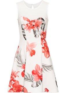 Платье с цветочным принтом (белый/ярко-розовый) Bonprix