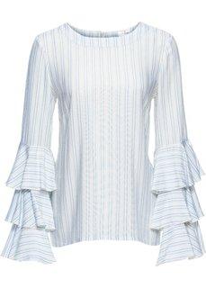 Блузка с воланами (цвет белой шерсти/нежно-голубой в полоску) Bonprix