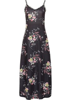 Трикотажное платье с кружевной отделкой (черный с рисунком) Bonprix