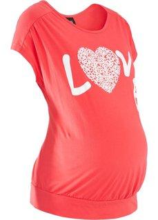 Футболка для будущих мам с короткими рукавами (коралловый) Bonprix