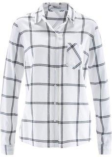 Рубашка с длинным рукавом (белый/черный в клетку) Bonprix