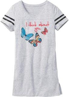 Ночная сорочка (светло-серый меланж с рисунком) Bonprix