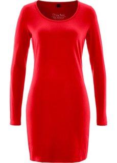 Трикотажное платье стретч с длинным рукавом (красный) Bonprix