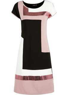 Трикотажное платье блок-колор (черный/розовый/кремовый) Bonprix