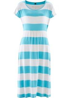 Трикотажное платье в двухцветную полоску (нежно-бирюзовый/белый в полоску) Bonprix