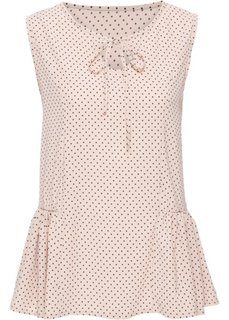 Блузка с воланами по бокам (телесный/черный в горошек) Bonprix
