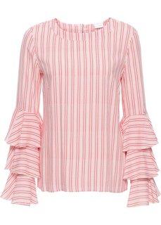 Блузка с воланами (цвет белой шерсти/красный в полоску) Bonprix