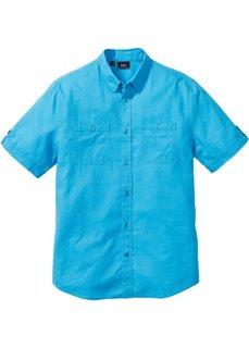 Рубашка Regular Fit из льна и хлопка (бирюзовый) Bonprix