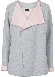 Трикотажная куртка (серый меланж/розовая пудра) Bonprix