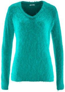 Пушистый пуловер с V-образным вырезом (темно-изумрудный) Bonprix